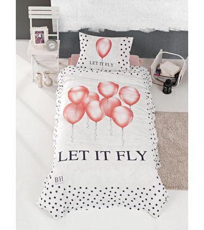 Κουβερλί μονό Fly Art 6110 - 160x240 Εκρού, Ροζ Beauty Home | Χαλιά ΙΩΑΚΕΙΜΙΔΗΣ 4 Γενιές